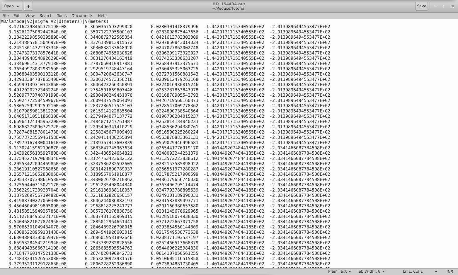 The text file output by l1_l2_gui.